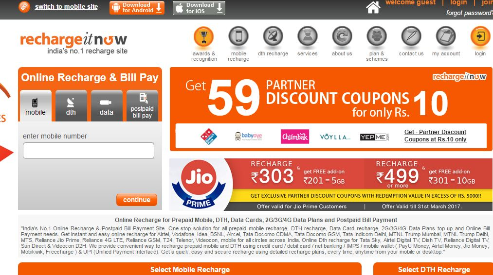Best Mobile Recharge Sites in India